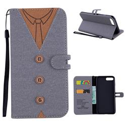 Mens Button Clothing Style Leather Wallet Phone Case for iPhone 8 Plus / 7 Plus 7P(5.5 inch) - Gray