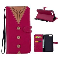 Mens Button Clothing Style Leather Wallet Phone Case for iPhone 8 Plus / 7 Plus 7P(5.5 inch) - Red