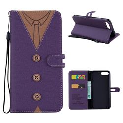 Mens Button Clothing Style Leather Wallet Phone Case for iPhone 8 Plus / 7 Plus 7P(5.5 inch) - Purple