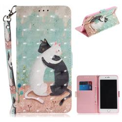 Black and White Cat 3D Painted Leather Wallet Phone Case for iPhone 8 Plus / 7 Plus 7P(5.5 inch)