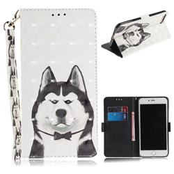 Husky Dog 3D Painted Leather Wallet Phone Case for iPhone 8 Plus / 7 Plus 7P(5.5 inch)