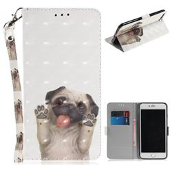 Pug Dog 3D Painted Leather Wallet Phone Case for iPhone 8 Plus / 7 Plus 7P(5.5 inch)