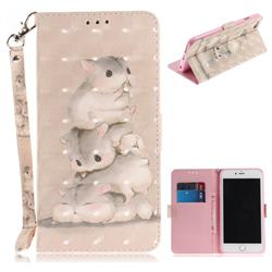 Three Squirrels 3D Painted Leather Wallet Phone Case for iPhone 8 Plus / 7 Plus 7P(5.5 inch)