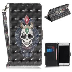 Skull Cat 3D Painted Leather Wallet Phone Case for iPhone 8 Plus / 7 Plus 7P(5.5 inch)