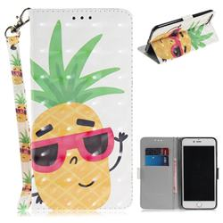 Pineapple Glasses 3D Painted Leather Wallet Phone Case for iPhone 8 Plus / 7 Plus 7P(5.5 inch)