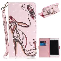 Butterfly High Heels 3D Painted Leather Wallet Phone Case for iPhone 8 Plus / 7 Plus 7P(5.5 inch)