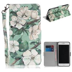 Watercolor Flower 3D Painted Leather Wallet Phone Case for iPhone 8 Plus / 7 Plus 7P(5.5 inch)