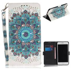 Peacock Mandala 3D Painted Leather Wallet Phone Case for iPhone 8 Plus / 7 Plus 7P(5.5 inch)