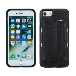 Luxury Shatter-resistant Leather Coated Card Phone Case for iPhone 8 Plus / 7 Plus 7P(5.5 inch) - Black