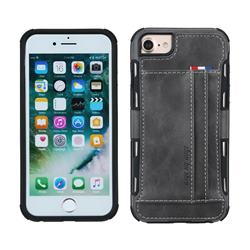 Luxury Shatter-resistant Leather Coated Card Phone Case for iPhone 8 Plus / 7 Plus 7P(5.5 inch) - Gray