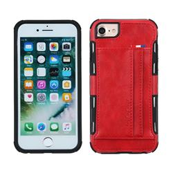 Luxury Shatter-resistant Leather Coated Card Phone Case for iPhone 8 Plus / 7 Plus 7P(5.5 inch) - Red