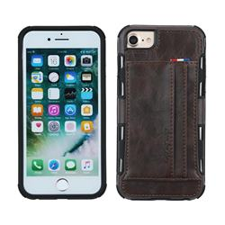 Luxury Shatter-resistant Leather Coated Card Phone Case for iPhone 8 Plus / 7 Plus 7P(5.5 inch) - Coffee