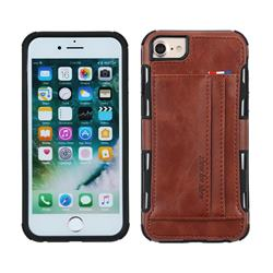 Luxury Shatter-resistant Leather Coated Card Phone Case for iPhone 8 Plus / 7 Plus 7P(5.5 inch) - Brown