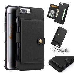 Brush Multi-function Leather Phone Case for iPhone 8 Plus / 7 Plus 7P(5.5 inch) - Black