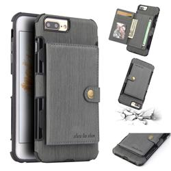 Brush Multi-function Leather Phone Case for iPhone 8 Plus / 7 Plus 7P(5.5 inch) - Gray