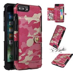Camouflage Multi-function Leather Phone Case for iPhone 8 Plus / 7 Plus 7P(5.5 inch) - Rose