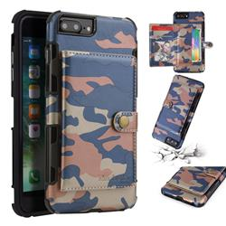 Camouflage Multi-function Leather Phone Case for iPhone 8 Plus / 7 Plus 7P(5.5 inch) - Blue