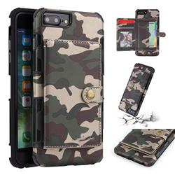 Camouflage Multi-function Leather Phone Case for iPhone 8 Plus / 7 Plus 7P(5.5 inch) - Army Green