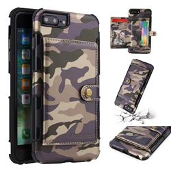 Camouflage Multi-function Leather Phone Case for iPhone 8 Plus / 7 Plus 7P(5.5 inch) - Purple