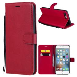 Retro Greek Classic Smooth PU Leather Wallet Phone Case for iPhone 8 Plus / 7 Plus 7P(5.5 inch) - Red