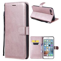Retro Greek Classic Smooth PU Leather Wallet Phone Case for iPhone 8 Plus / 7 Plus 7P(5.5 inch) - Rose Gold