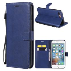 Retro Greek Classic Smooth PU Leather Wallet Phone Case for iPhone 8 Plus / 7 Plus 7P(5.5 inch) - Blue