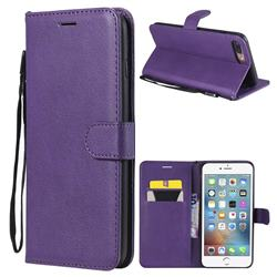 Retro Greek Classic Smooth PU Leather Wallet Phone Case for iPhone 8 Plus / 7 Plus 7P(5.5 inch) - Purple