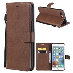 Retro Greek Classic Smooth PU Leather Wallet Phone Case for iPhone 8 Plus / 7 Plus 7P(5.5 inch) - Brown