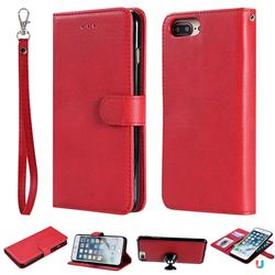 Retro Greek Detachable Magnetic PU Leather Wallet Phone Case for iPhone 8 Plus / 7 Plus 7P(5.5 inch) - Red