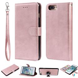 Retro Greek Detachable Magnetic PU Leather Wallet Phone Case for iPhone 8 Plus / 7 Plus 7P(5.5 inch) - Rose Gold