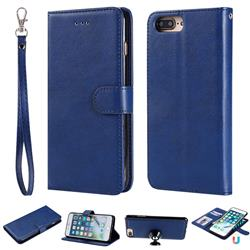 Retro Greek Detachable Magnetic PU Leather Wallet Phone Case for iPhone 8 Plus / 7 Plus 7P(5.5 inch) - Blue