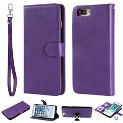 Retro Greek Detachable Magnetic PU Leather Wallet Phone Case for iPhone 8 Plus / 7 Plus 7P(5.5 inch) - Purple