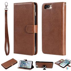 Retro Greek Detachable Magnetic PU Leather Wallet Phone Case for iPhone 8 Plus / 7 Plus 7P(5.5 inch) - Brown