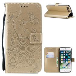 Intricate Embossing Butterfly Circle Leather Wallet Case for iPhone 8 Plus / 7 Plus 7P(5.5 inch) - Champagne