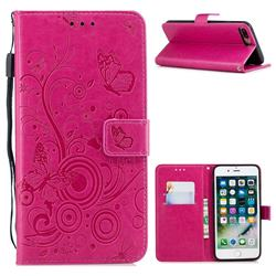 Intricate Embossing Butterfly Circle Leather Wallet Case for iPhone 8 Plus / 7 Plus 7P(5.5 inch) - Red
