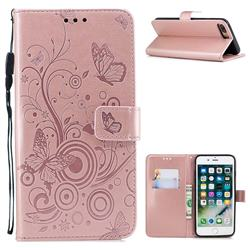 Intricate Embossing Butterfly Circle Leather Wallet Case for iPhone 8 Plus / 7 Plus 7P(5.5 inch) - Rose Gold