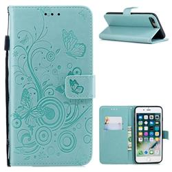 Intricate Embossing Butterfly Circle Leather Wallet Case for iPhone 8 Plus / 7 Plus 7P(5.5 inch) - Cyan