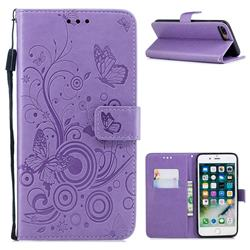 Intricate Embossing Butterfly Circle Leather Wallet Case for iPhone 8 Plus / 7 Plus 7P(5.5 inch) - Purple