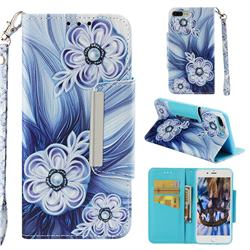 Button Flower Big Metal Buckle PU Leather Wallet Phone Case for iPhone 8 Plus / 7 Plus 7P(5.5 inch)