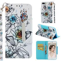 Fotus Flower Big Metal Buckle PU Leather Wallet Phone Case for iPhone 8 Plus / 7 Plus 7P(5.5 inch)