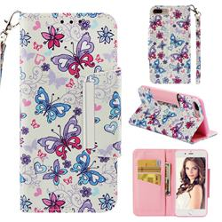 Colored Butterfly Big Metal Buckle PU Leather Wallet Phone Case for iPhone 8 Plus / 7 Plus 7P(5.5 inch)