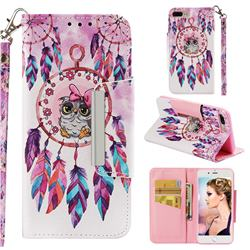 Owl Wind Chimes Big Metal Buckle PU Leather Wallet Phone Case for iPhone 8 Plus / 7 Plus 7P(5.5 inch)