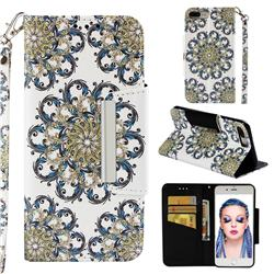 Phoenix Tail Big Metal Buckle PU Leather Wallet Phone Case for iPhone 8 Plus / 7 Plus 7P(5.5 inch)