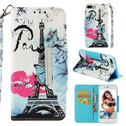 Lip Tower Big Metal Buckle PU Leather Wallet Phone Case for iPhone 8 Plus / 7 Plus 7P(5.5 inch)