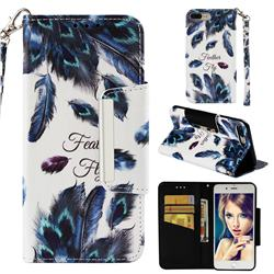 Peacock Feather Big Metal Buckle PU Leather Wallet Phone Case for iPhone 8 Plus / 7 Plus 7P(5.5 inch)