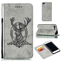 Retro Intricate Embossing Elk Seal Leather Wallet Case for iPhone 8 Plus / 7 Plus 7P(5.5 inch) - Gray