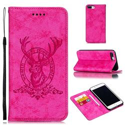 Retro Intricate Embossing Elk Seal Leather Wallet Case for iPhone 8 Plus / 7 Plus 7P(5.5 inch) - Rose