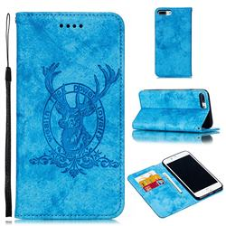 Retro Intricate Embossing Elk Seal Leather Wallet Case for iPhone 8 Plus / 7 Plus 7P(5.5 inch) - Blue