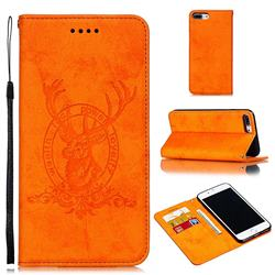 Retro Intricate Embossing Elk Seal Leather Wallet Case for iPhone 8 Plus / 7 Plus 7P(5.5 inch) - Orange