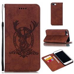 Retro Intricate Embossing Elk Seal Leather Wallet Case for iPhone 8 Plus / 7 Plus 7P(5.5 inch) - Brown
